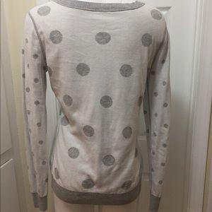 Loft Fashion Sweaters - Irreversible Loft Gray and White Polka Dot Sweater